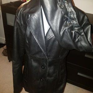 Faux Leather Lace Up Sleeve Jacket